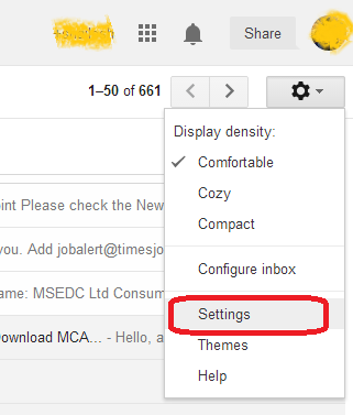 gmail setting tab