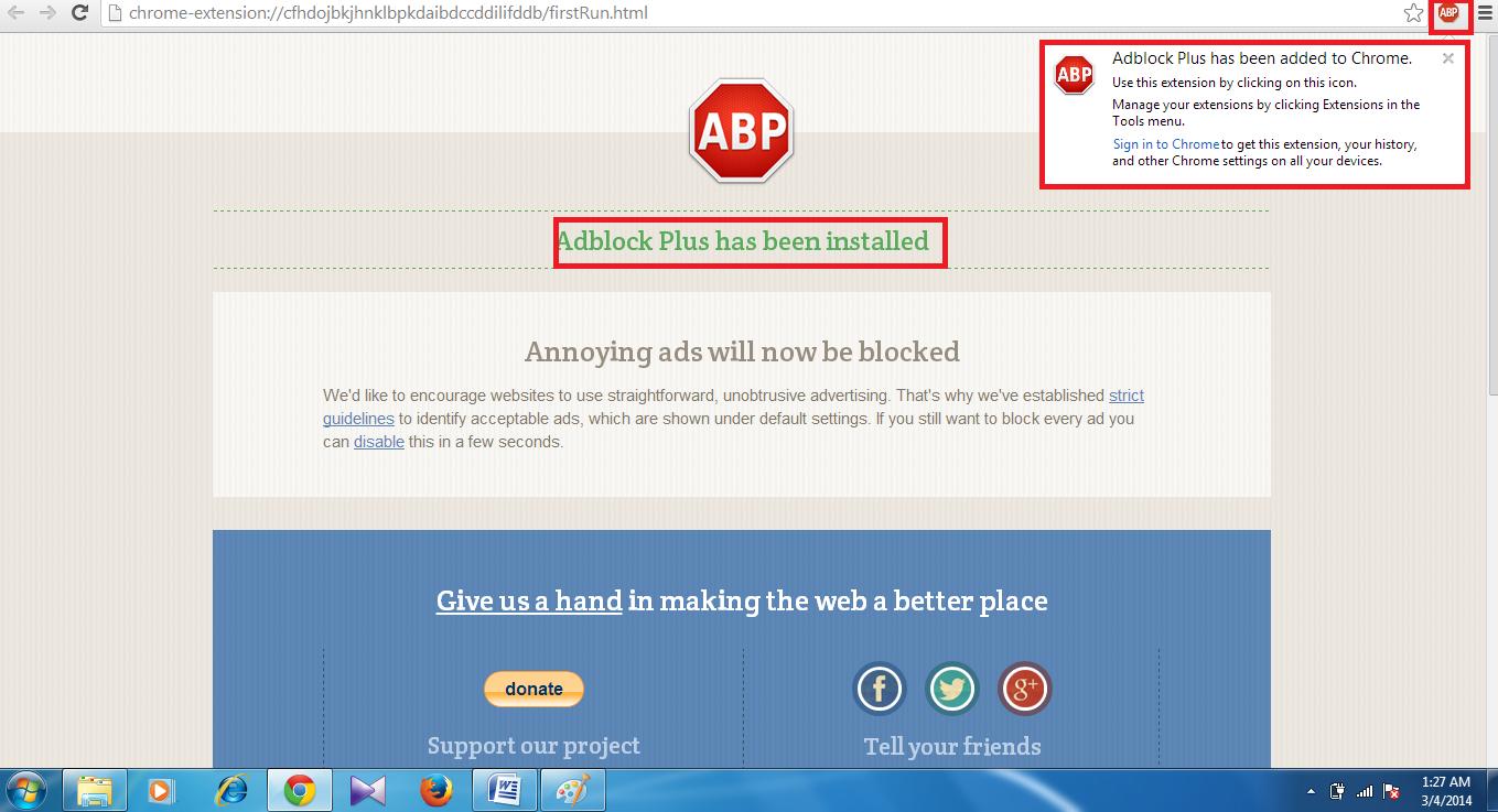 installed adblock plus