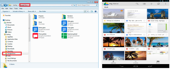 Google Drive application cloud storage