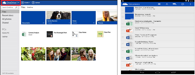 OneDrive application cloud storage