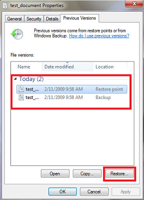 restore deleted files using restore point