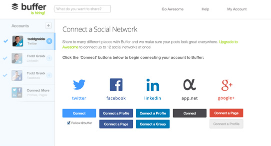 Buffer social media monitoring tool