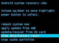wipe data hard reset android phone